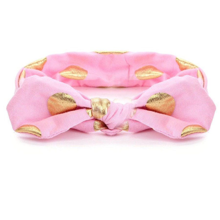 Pink and Gold Dot Top Knot Headband -  - Cassidy's Closet