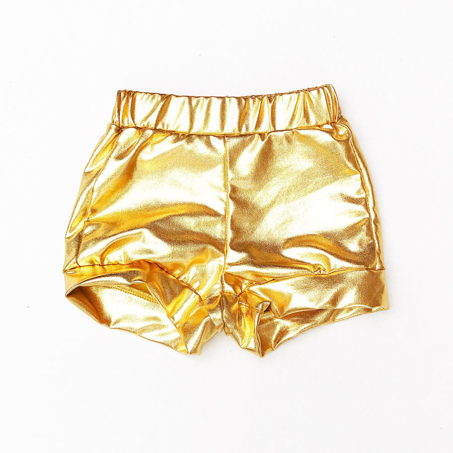 Gold Metallic Toddler Shorts - Cassidy's Closet