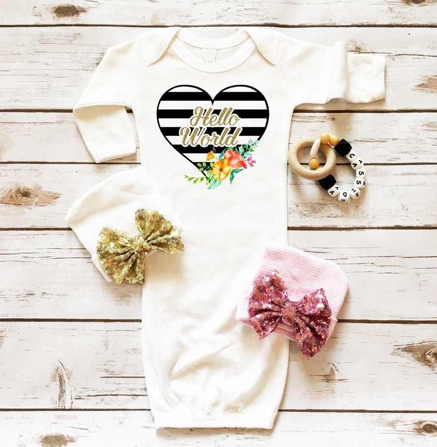 Hello World Baby Gown