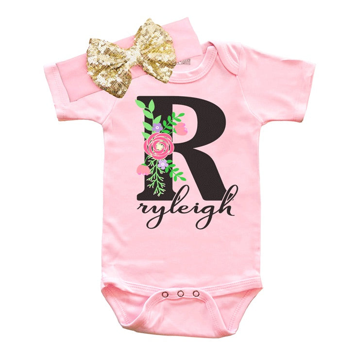 Baby Clothes - Floral Personalized Pink Bodysuit