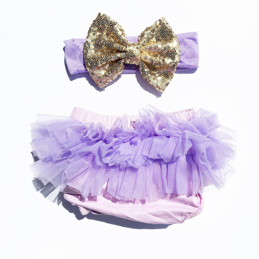 Lavender/Gold Sequin Tutu Bloomers Set - Cassidy's Closet - 1
