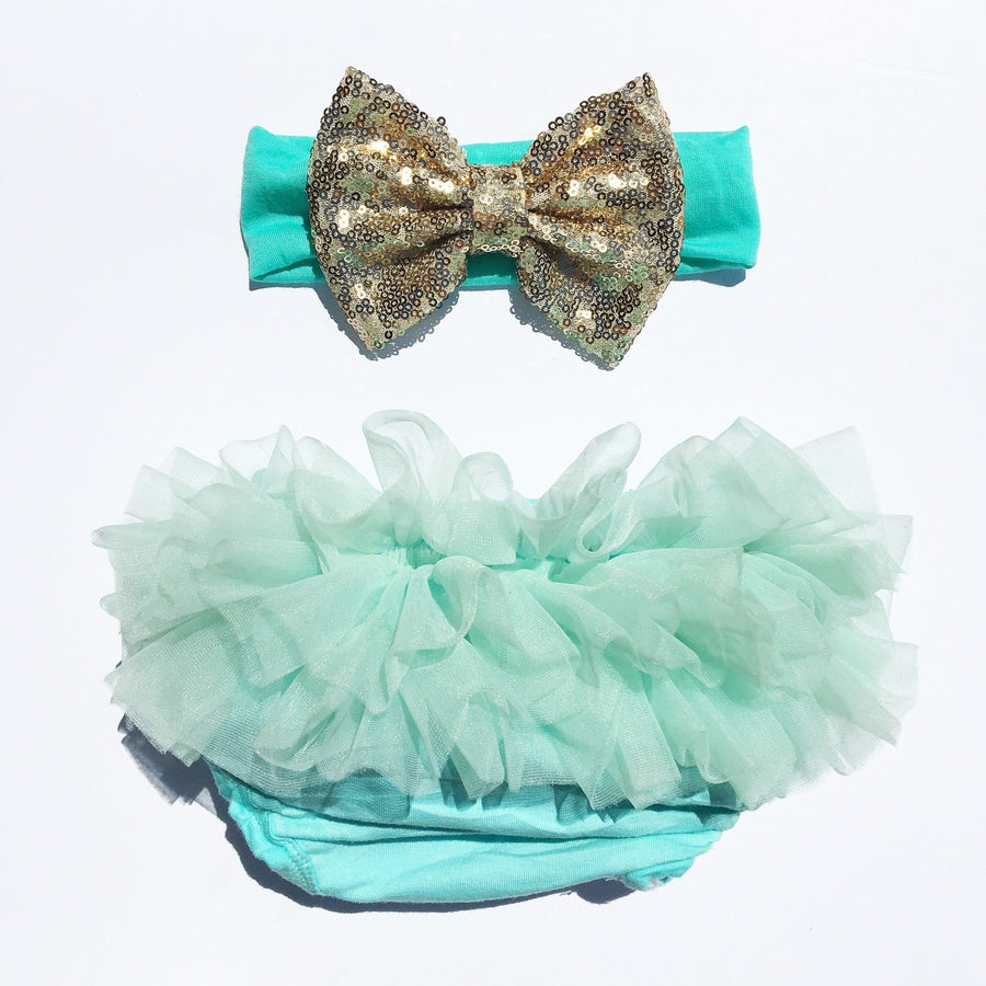 Mint/Gold Sequin Tutu Bloomers Set - Cassidy's Closet - 1