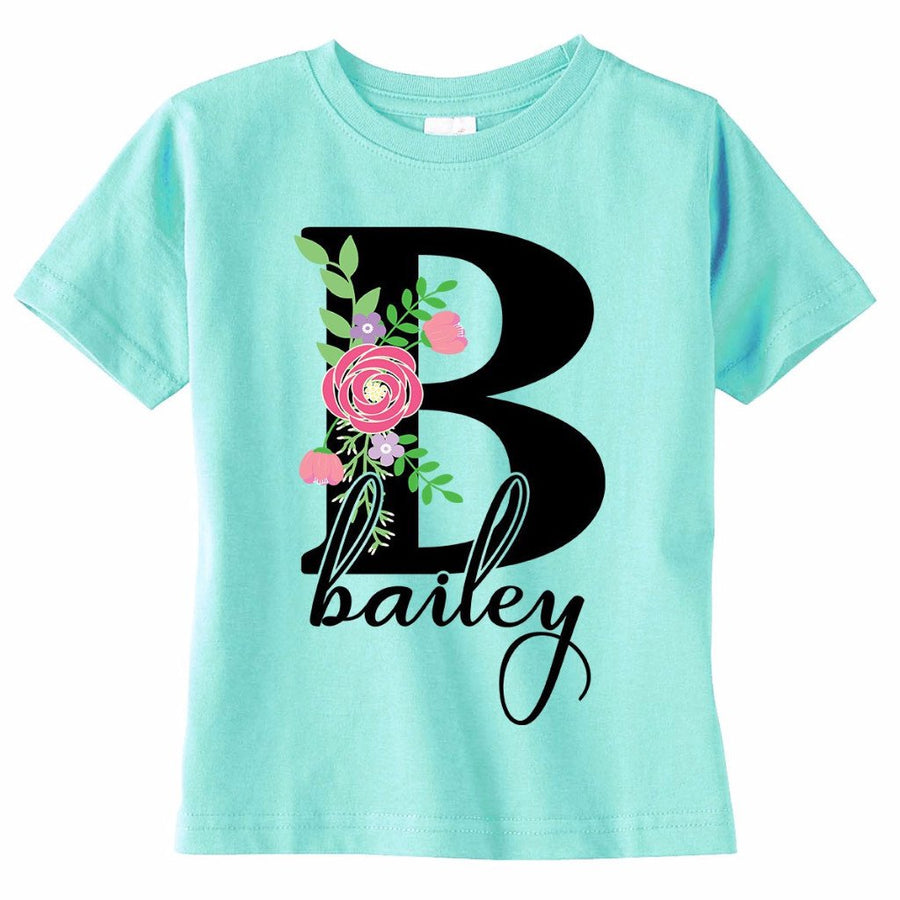 Personalized Floral Toddler Girl's Shirt