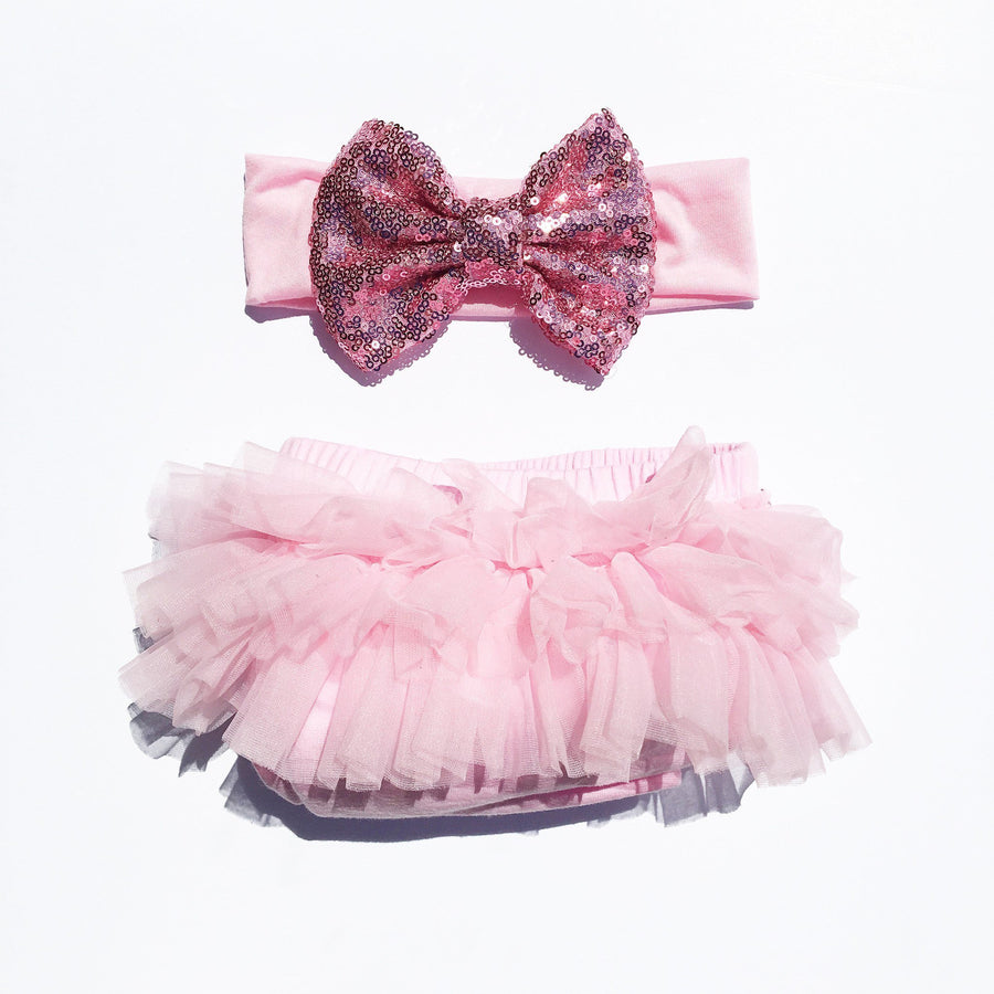 Pink Sequin Tutu Bloomers Set - Cassidy's Closet - 1