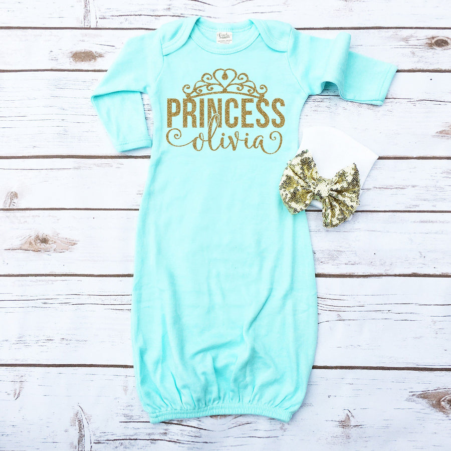Princess Personalized Baby Gown | Mint - Cassidy's Closet