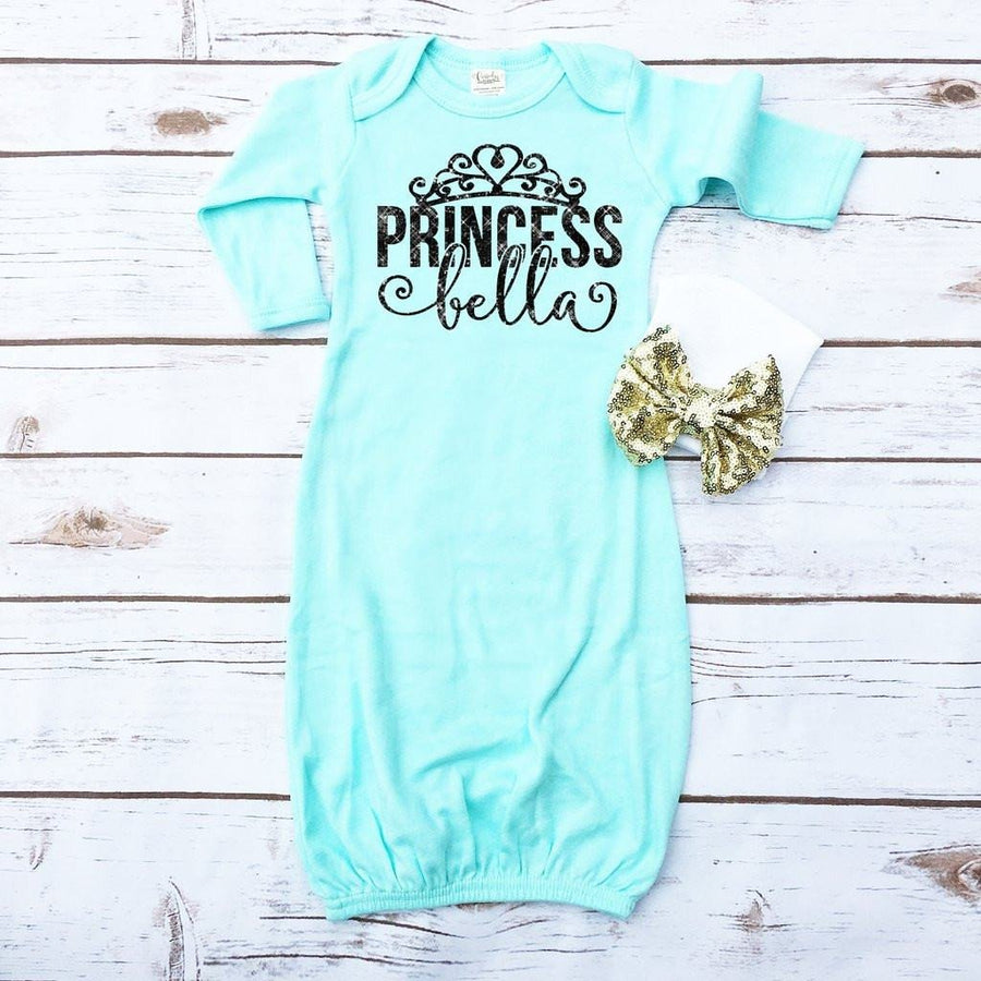 Princess Personalized Baby Gown | Mint & Black