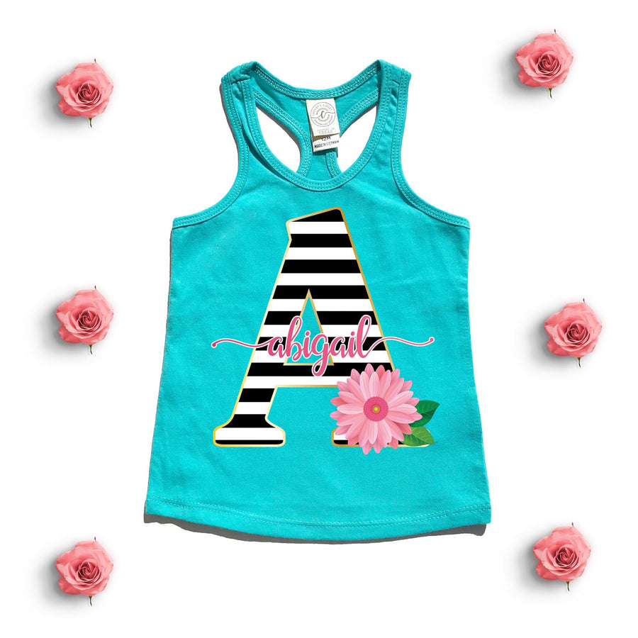 Tank Top - Floral Stripe Monogram Tank Top