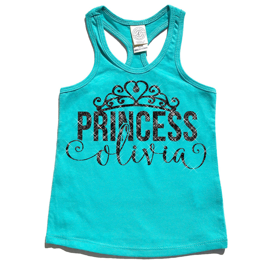 Tank Top - Princess Personalized Tank Top | Aruba Blue In Black