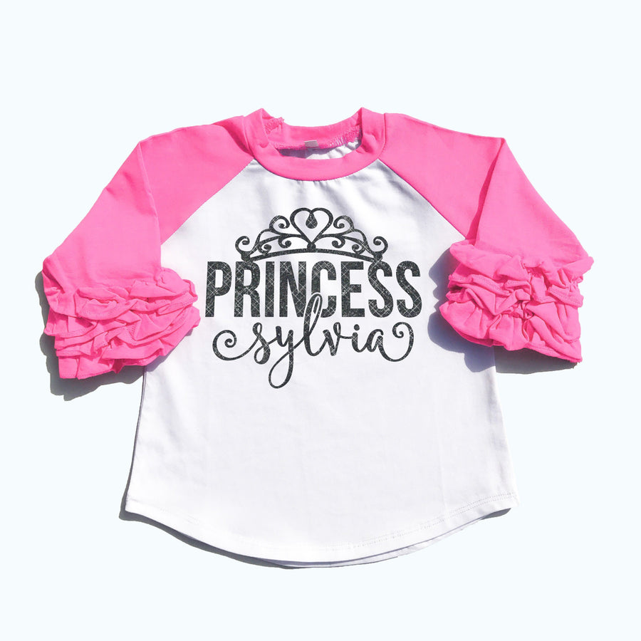 Toddler - Princess Ruffle Raglan | Personalized Girl's Shirt