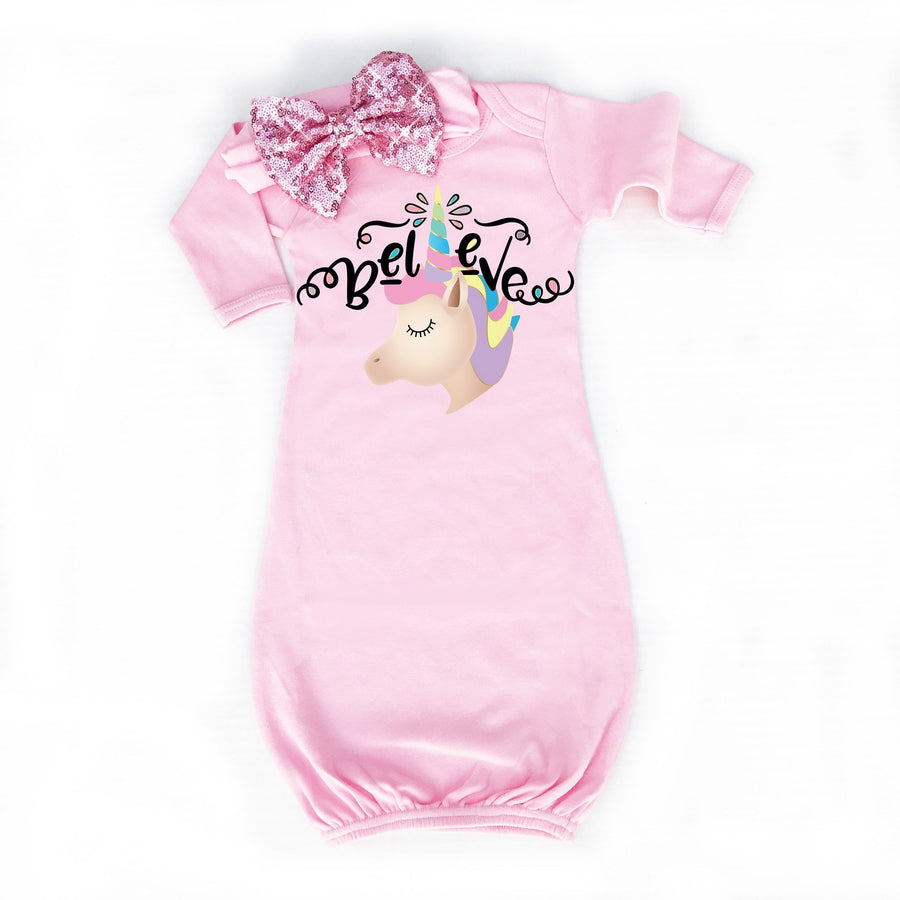 Unicorn Baby Gown | Pink - Cassidy's Closet