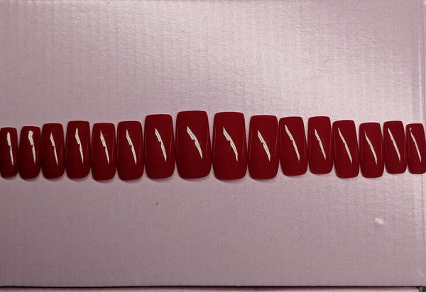Red Medium Square Press on Nails (ONE OFF SET)