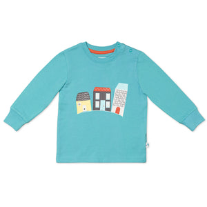 Long Sleeved Aqua T-Shirt