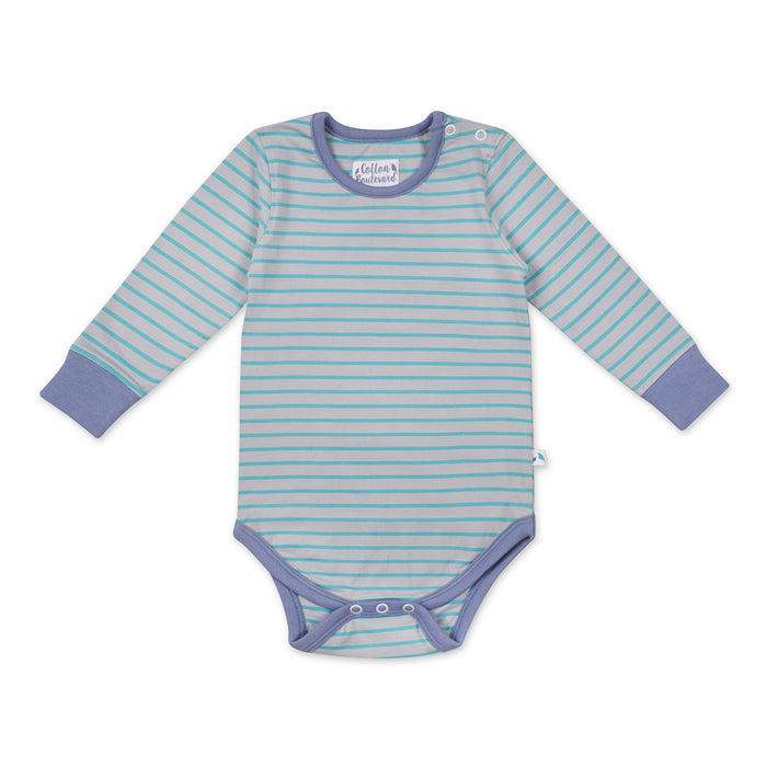Aqua Stripe Long Sleeved Bodysuit