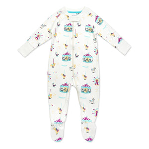 Pure Organic Cotton Carousel Pattern Sleepsuit