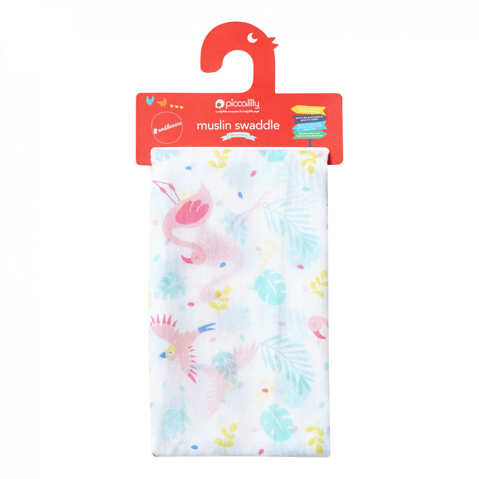 Muslin Swaddle - Pink Flamingo