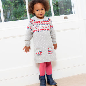 Nordic heart knit dress