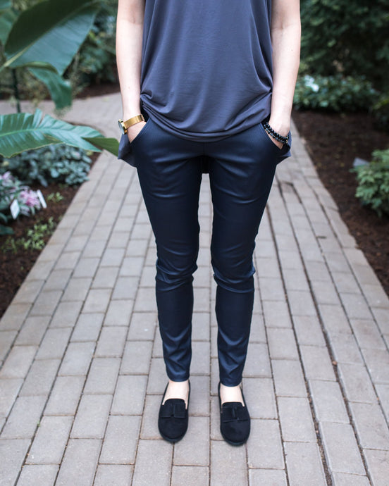 High waisted leather imitation pants