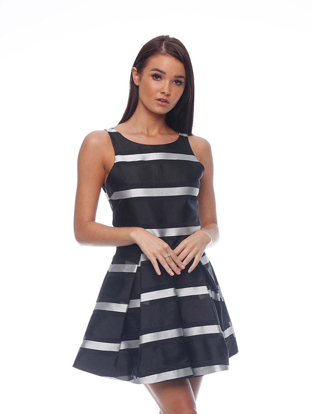 Honey and Beau - Stripe Skirt and Sleeveless Top Black - HS185003 HT185003