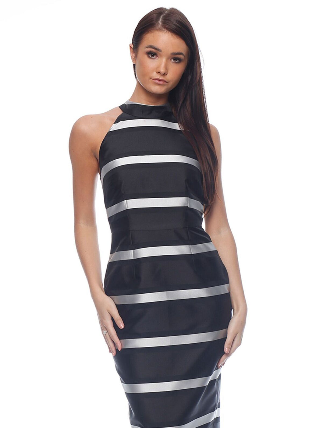 Honey and Beau - Stripe Halter Dress - HHD185003