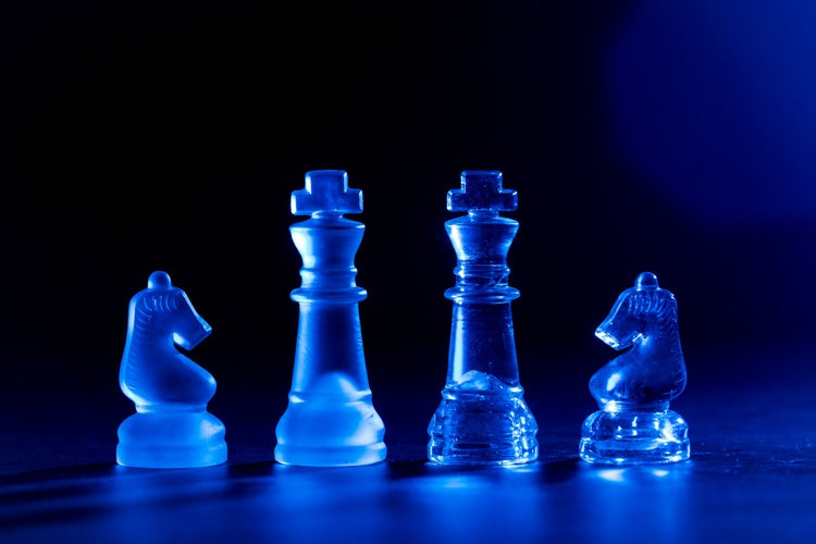portrait of chess pieces taken with one light