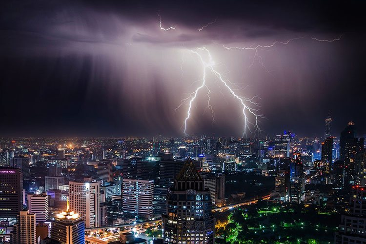 photo of lightning city sky