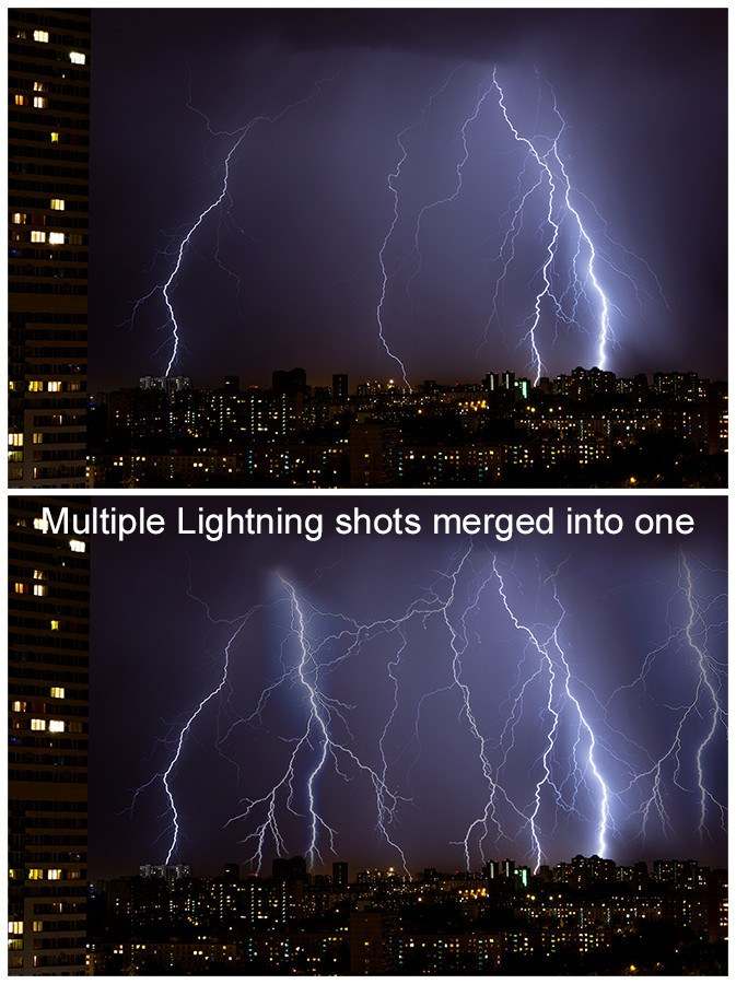 multiple lightning shots merged into one