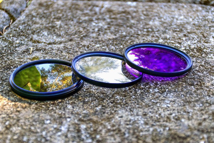 Colorful Lens filters placed on top of each other