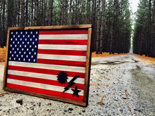 "19""x30"" RWB flag with sun, star, and lighting bolt in bottom corner. $155.00 as shown"