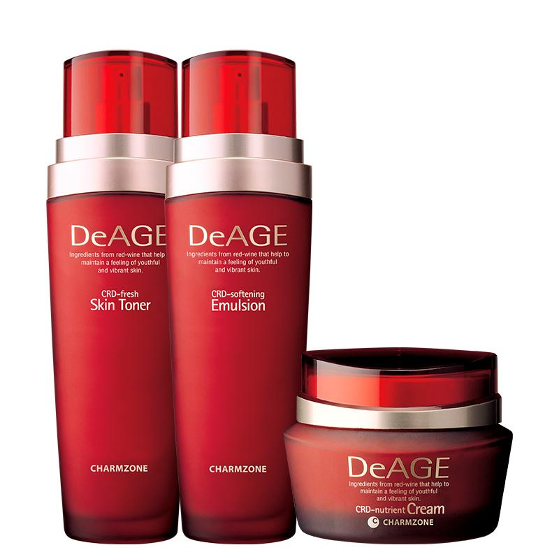 CHARMZONE DeAge Red Addition Set of 3 - Moisturizing Toner, Emulsion and Nutrient Cream