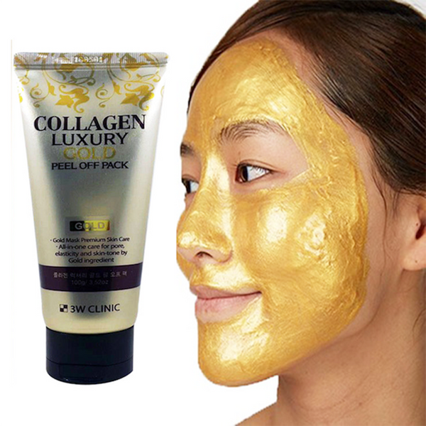 3w clinic collagen luxury 24k gold peel off pack application on face
