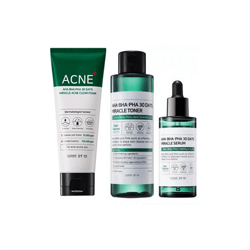 Somebymi Miracle 30 Days ACNE Foam TRIO Set (Cleanser + Toner + Serum)