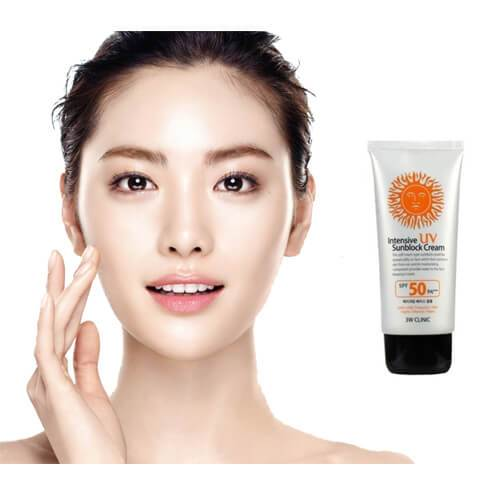 3w clinic intensive uv sunblock cream spf 50 application on face