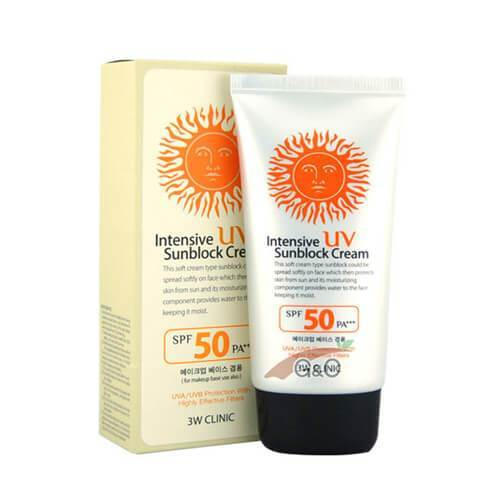3w clinic intensive uv sunblock cream spf 50 pa +++