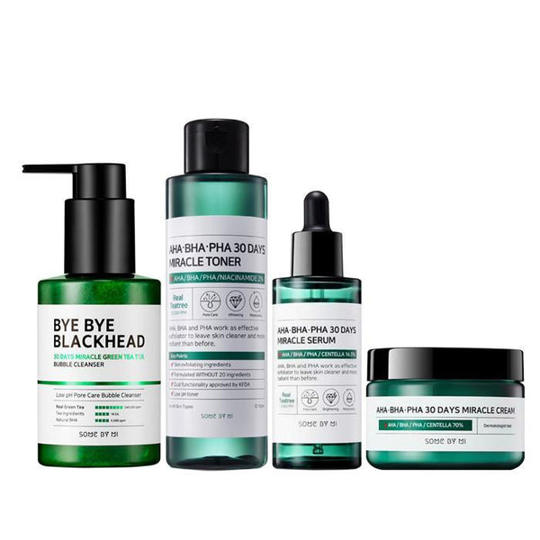 Somebymi Bye Bye Blackheads + 30 Days Miracle Toner + Serum + Cream SET (Acne and Pore Care)