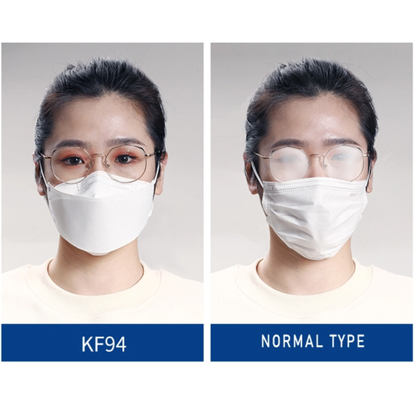 KF94 Face Mask Triple Filter Medical Mask 94% Filtration Adaptable Nose Bar Soft & Breathable Non-woven Fabric Earloop Mouth Face Mask,1PC