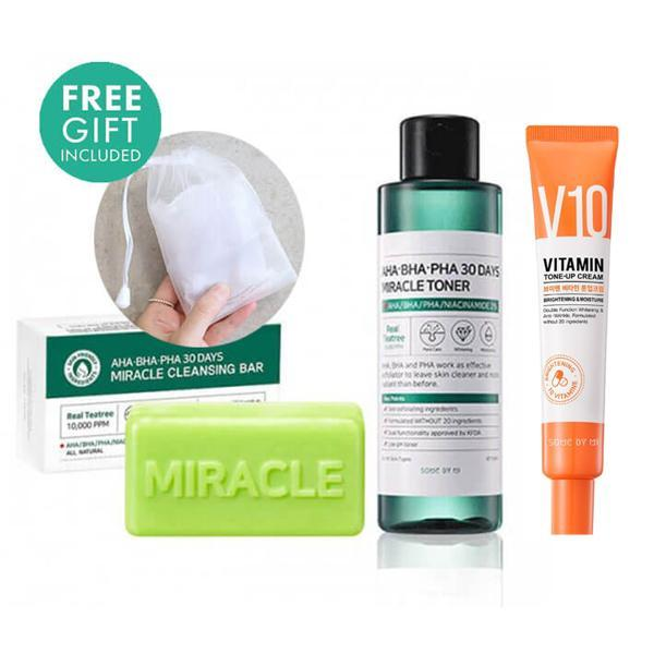 Some by mi Miracle Soap + Toner + V10 Vitamin Tone-up Cream + Bubble Foam Net (SET)