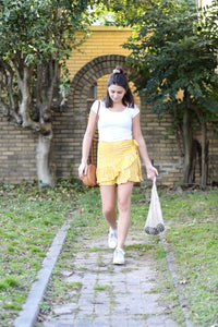Lemon Drop Ruffle Wrap Skirt