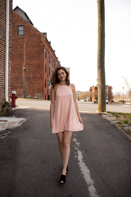 Blush suede dress, black wedges, urban small town, road