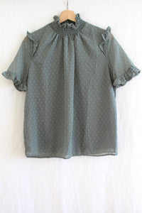 Swiss Dot Ruffle Blouse