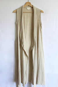 Bohemian Wrap dress with V-neck, knot tie, beige