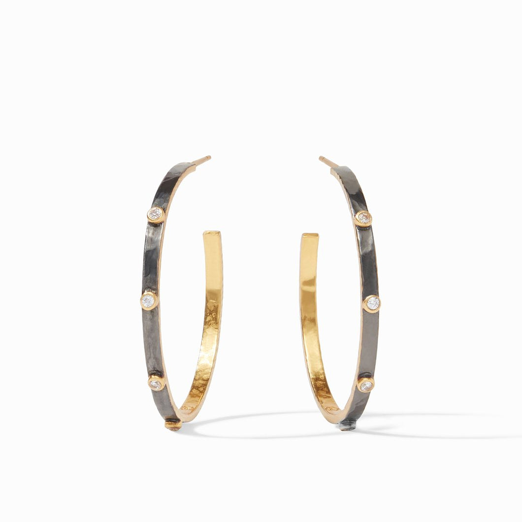 Julie Vos Crescent Stone Hoop Earrings-Mixed Metal-CZ-Large