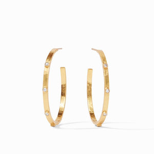 Julie Vos Crescent Stone Hoop Earrings-CZ-Medium