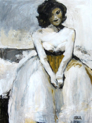 "Acrylic figure, woman in a white dress, ""Certainty"""