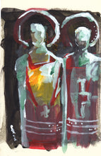 "Load image into Gallery viewer, Acolytes, Acrylic on Textured Paper, 6"" x 9"""
