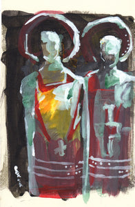 "Acolytes, Acrylic on Textured Paper, 6"" x 9"""