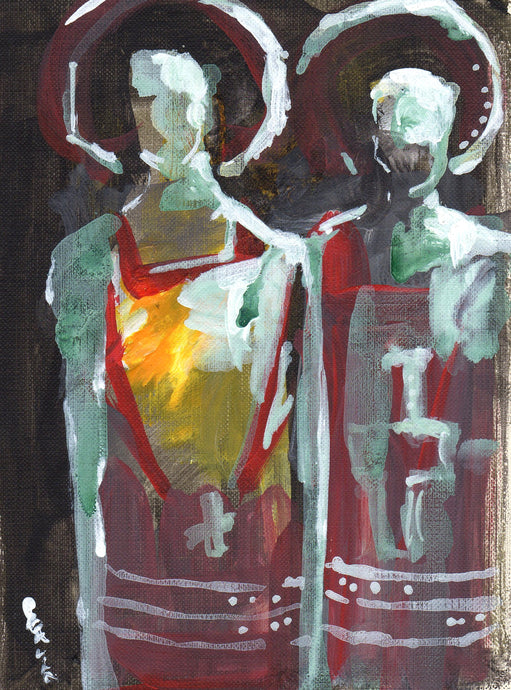Acolytes, Acrylic on Textured Paper, 6
