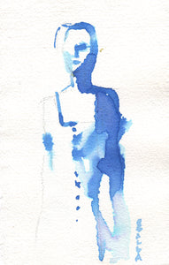 Watercolor and gouache abstract portrait in blue.