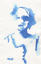 Load image into Gallery viewer, Abstract figure in blue gouache and watercolor