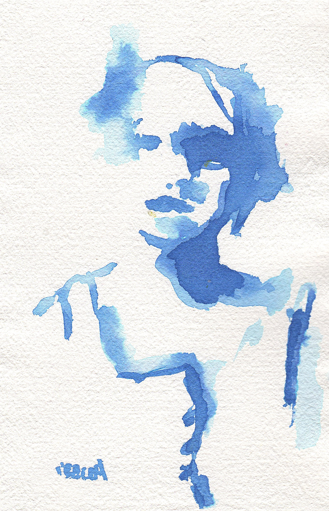Abstract figure in blue gouache and watercolor