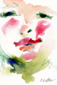 Watercolor and ink abstract portrait